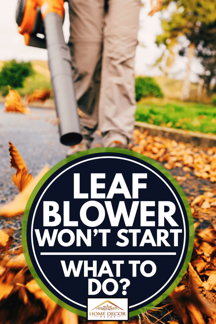 Woman using a leaf blower in the autumn to clear her driveway, Leaf Blower Won't Start - What To Do?