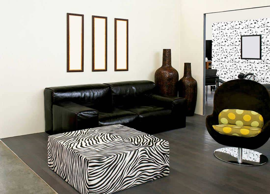 Living room in African style with zebra stripe table