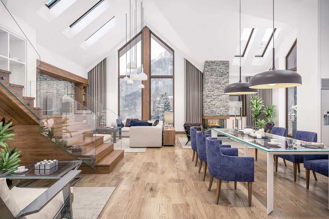 Living room, kitchen and dining room and stair are combined in one area of chalet