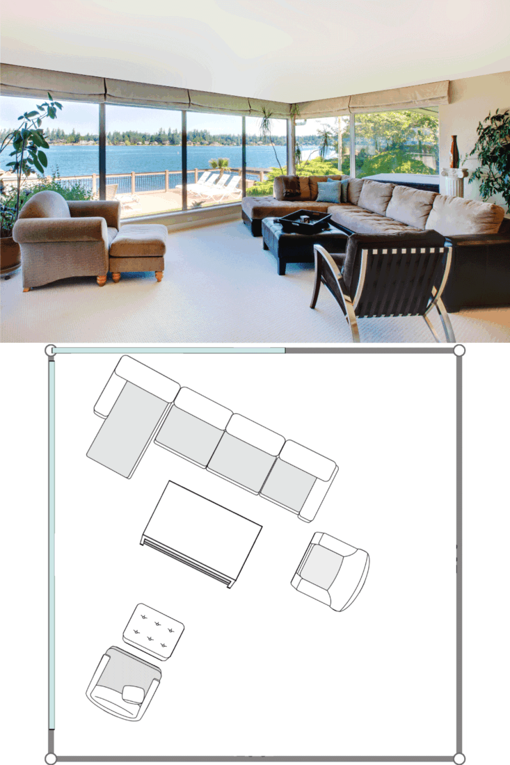 Living room with fireplace and water view with large windows. 20X20 Living Room Layout Ideas