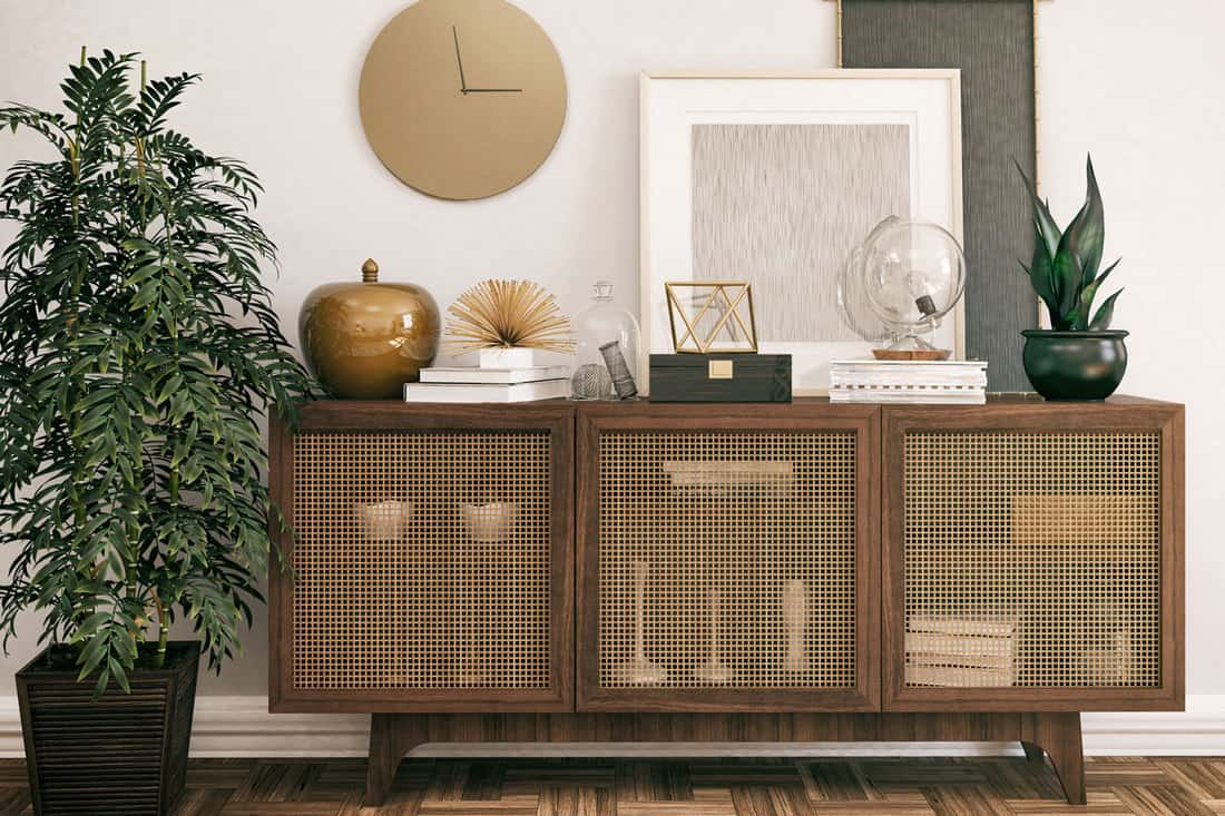 Living room with wooden, retro Sideboard and decoration