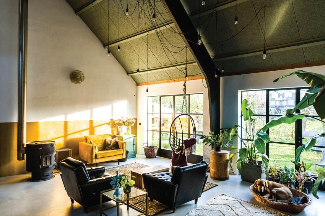 Loft style living room interior with design furniture. Scandinavian living. spider web lighting
