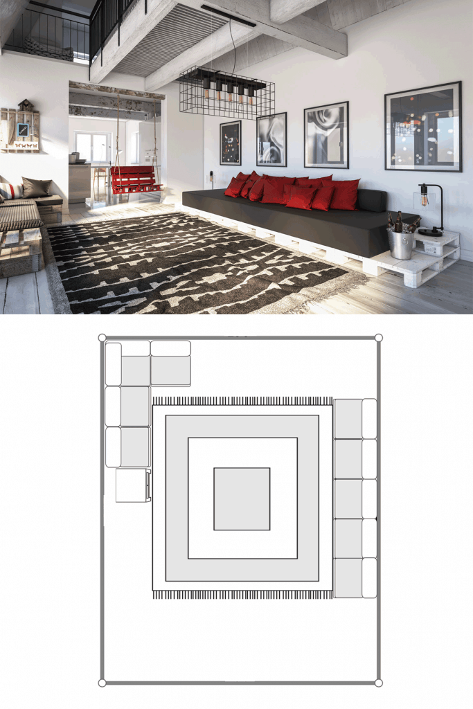 Luxurious industrial type themed living room with protruding lamps, long black and red sectional sofa, and a huge patterned rug
