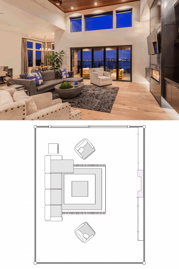 Luxurious two storey living room with luxurious furniture's, huge windows, sliding doors, and wooden laminated flooring