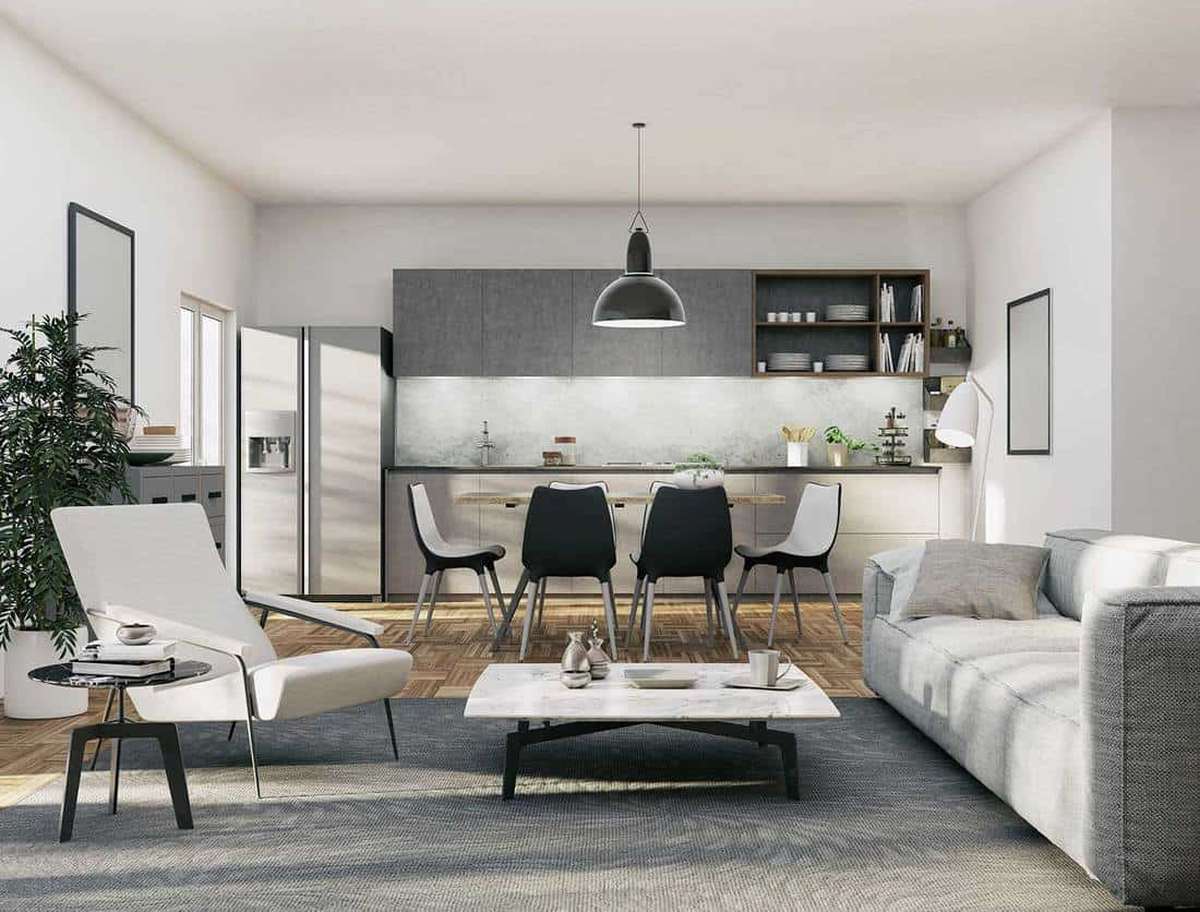 Luxury kitchen and living room interior with white walls, gray sofa and gray carpet on wooden floor