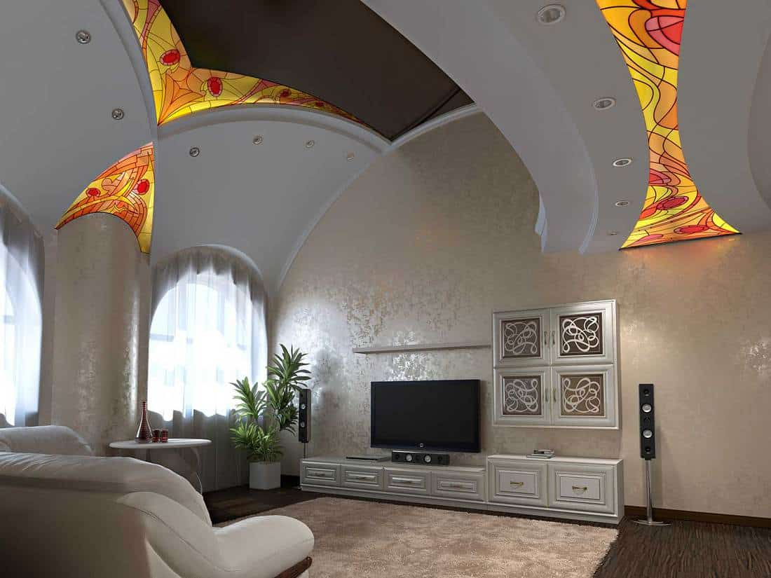 Luxury living room interior with stained glass design on ceiling