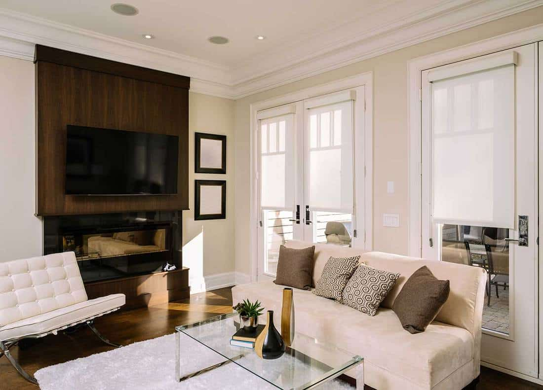 Main floor interior of open concept family room in newly built North American private home