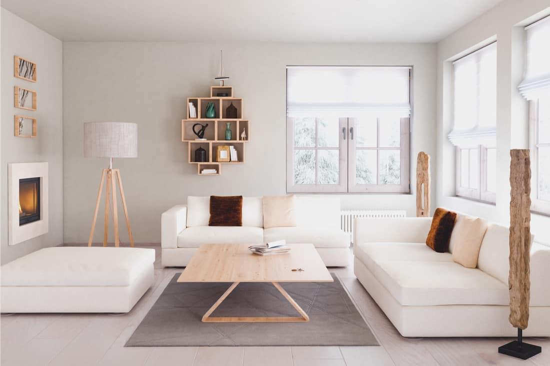 Mid Century Modern Style White Living Room