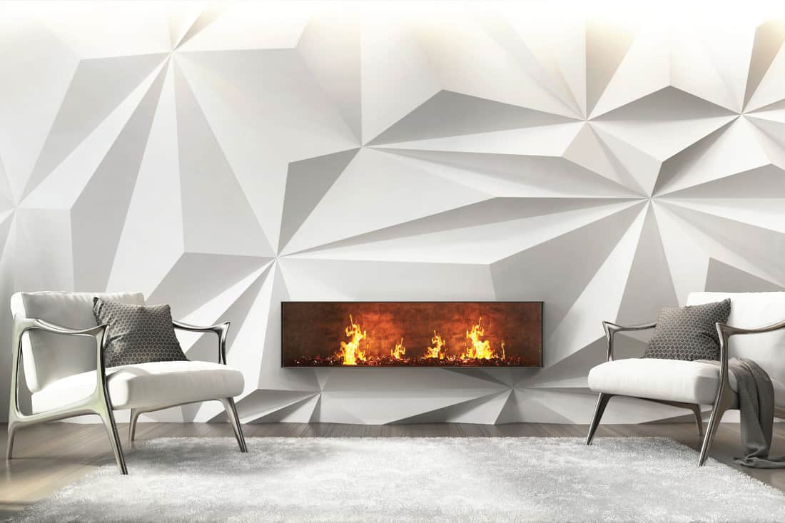 Modern White Living Room With a Fireplace