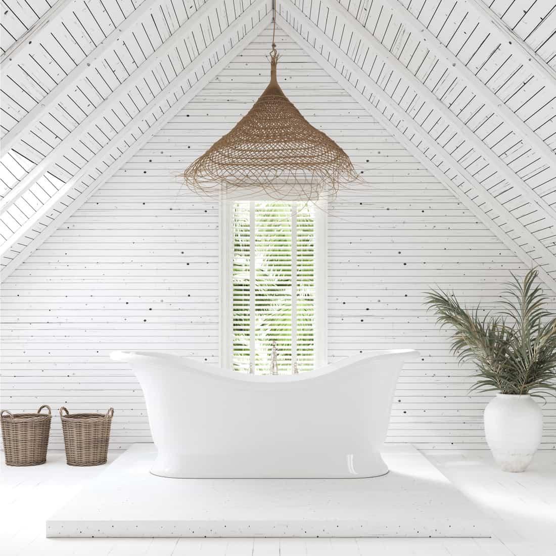 Modern bathroom in attic of farm house. Make Your Entire Attic A Spa