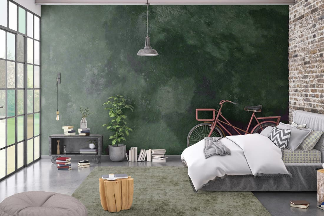 Modern bedroom interior, with bed, night tables, lamps. watercolor inspired wallpaper