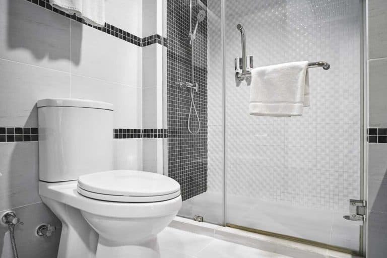 Modern decoration design of bathroom with toilet and shower decorating with black and white ceramic, How To Repair A Hole Or Crack In A Shower Base [9 Steps!]