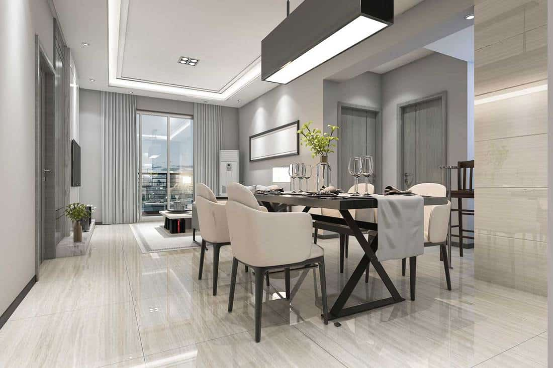 Modern dining room and living room with tiled floor and luxury decor