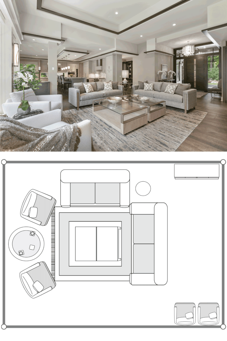 Modern furniture and decor in an open concept floor plan