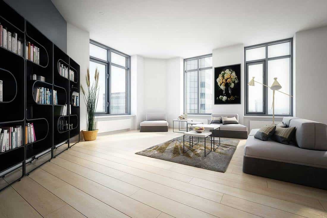 Modern home interior with wooden floor, sofa, standing lamp and bookshelves