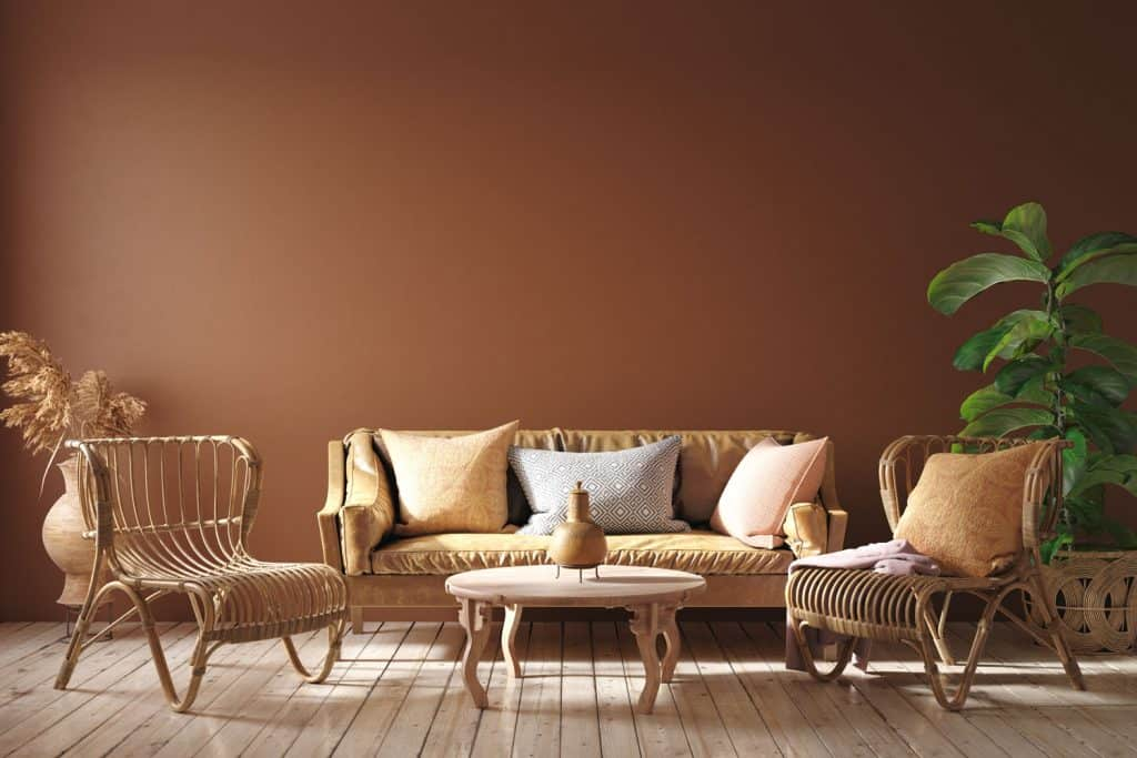 Modern interior of a brown and rustic themed living room with rattan chairs, sofas, and plant vases