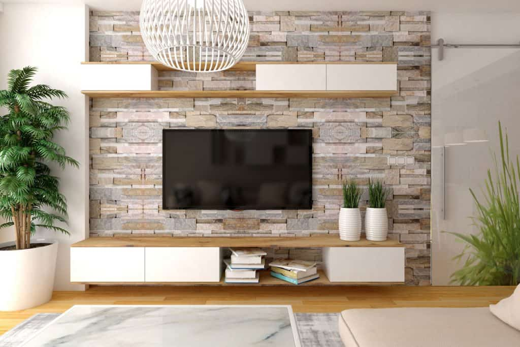 Modern living room interior design with mounted tv and a cabinet, Can You Use A Sideboard As A TV Stand?