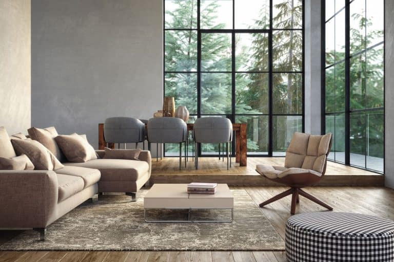 Modern luxury living room interior with gray and beige colored furniture and wooden elements, Should You Have A Rug In Your Living Room?