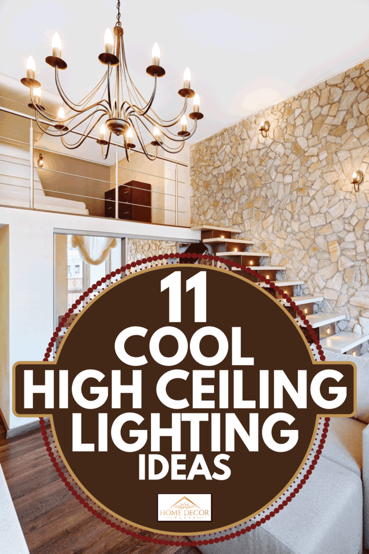 Modern style two-high living-room interior with staircase and higi ceiling lighting. 11 Cool High Ceiling Lighting Ideas