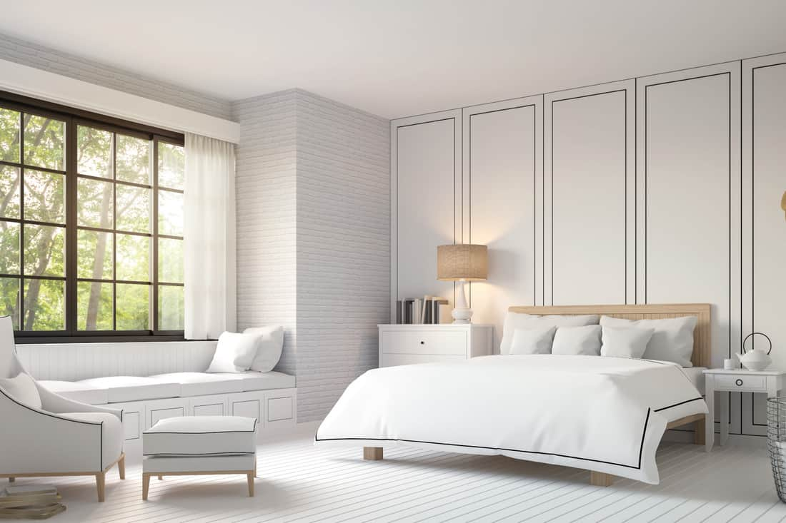 Modern vintage bedroom with black and white striped panel wallpaper. There is a white wood floor,white brick wall and finished with white furniture