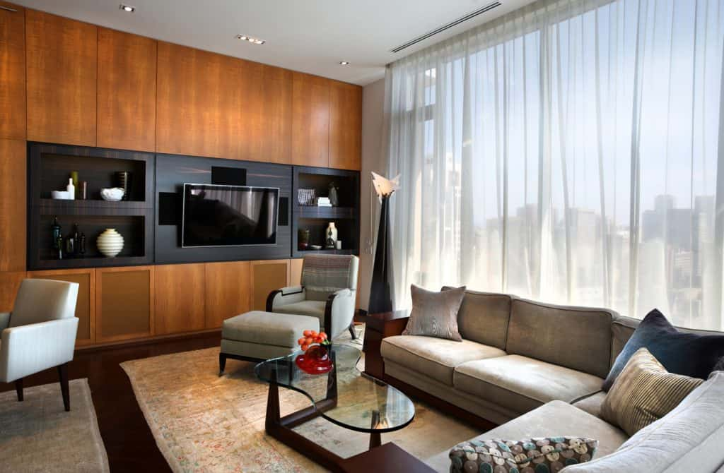 North American Condo interior with living room cabinet