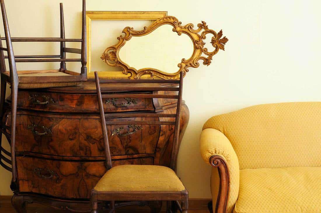 Old furniture inside antique shop