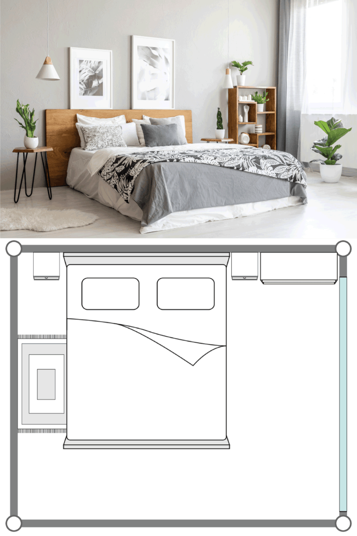 Patterned blanket on wooden bed in grey bedroom interior with plants and posters