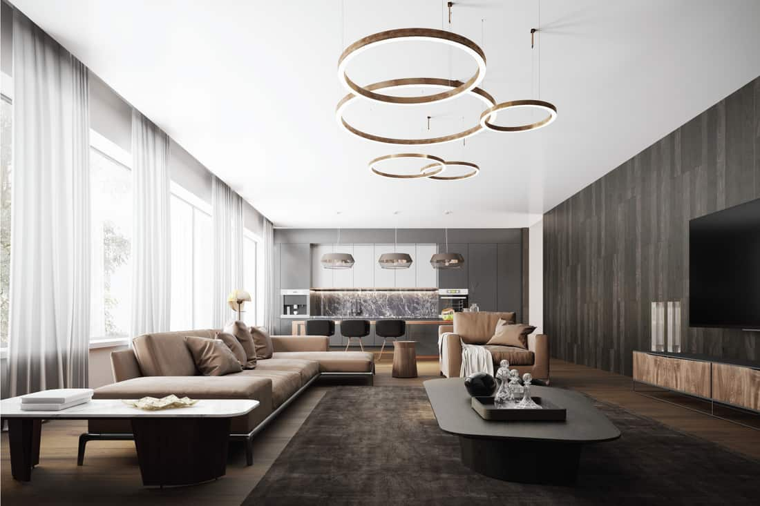 Picture of a luxury apartment loft with a living room and modern kitchen with large round hanging lights