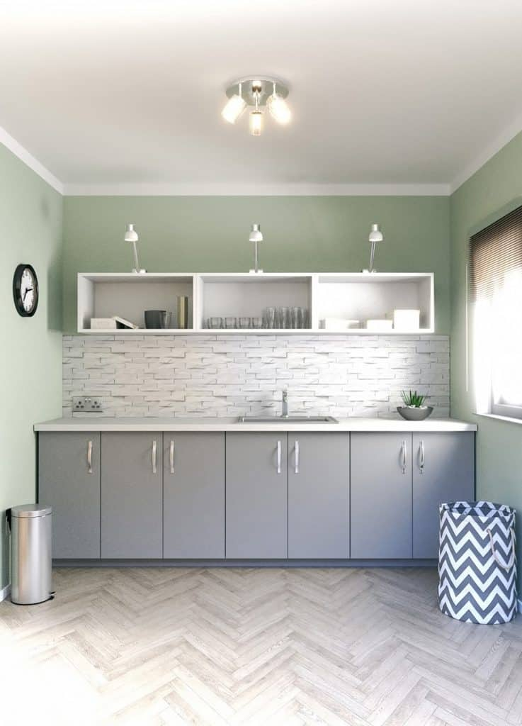 Scandinavian Utility Room with dynamic materials