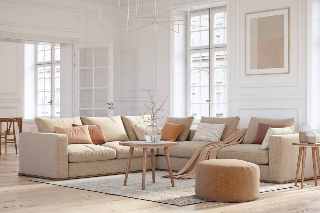 Scandinavian interior design living room with beige colored furniture and wooden elements. airy living room in warm, light neutrals