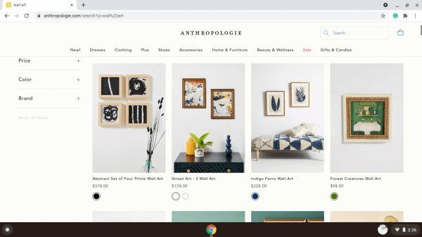Anthropologie website product page