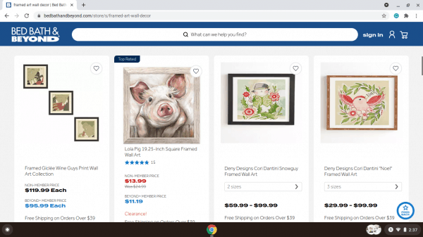 Bed Bath & Beyond website product page
