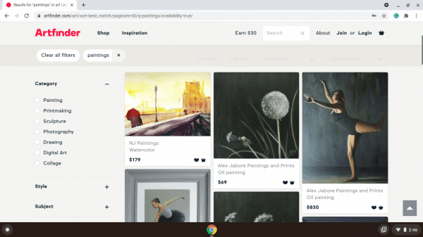 Artfinder website product page