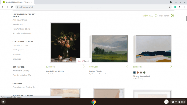 Minted website product page