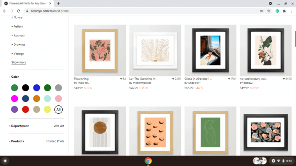 Society6 website product page