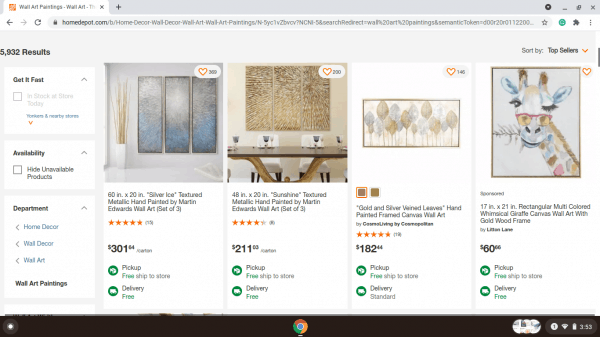 The Home Depot website product page