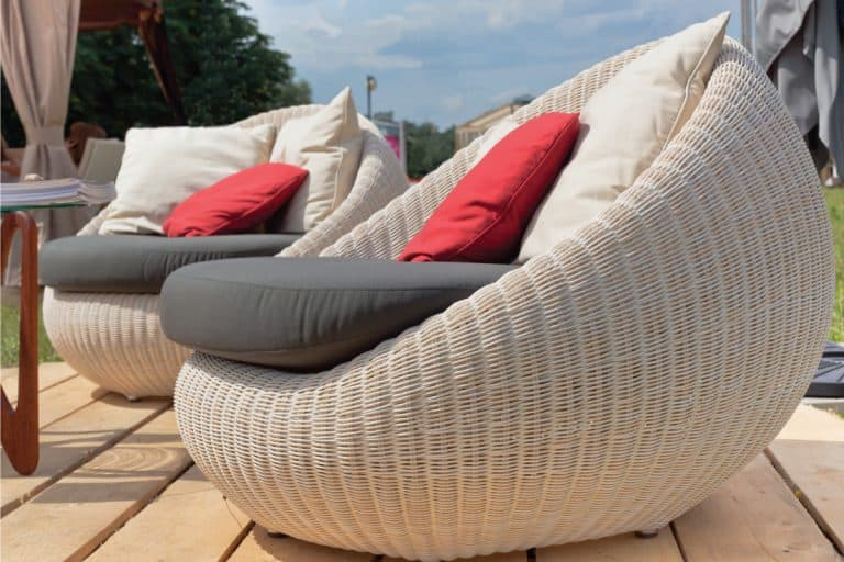 Soft armchairs with color pillows outdoors, What Is The Best Fabric For Outdoor Furniture