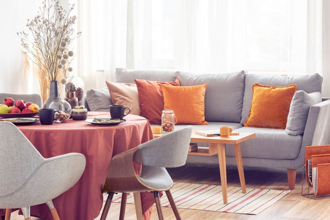 Stylish grey chairs at dining table covered with long table, Can You Put A Dining Table In The Living Room?