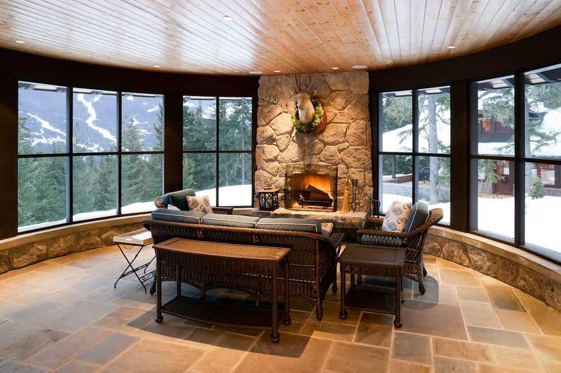 Sunroom fireplace house home interior