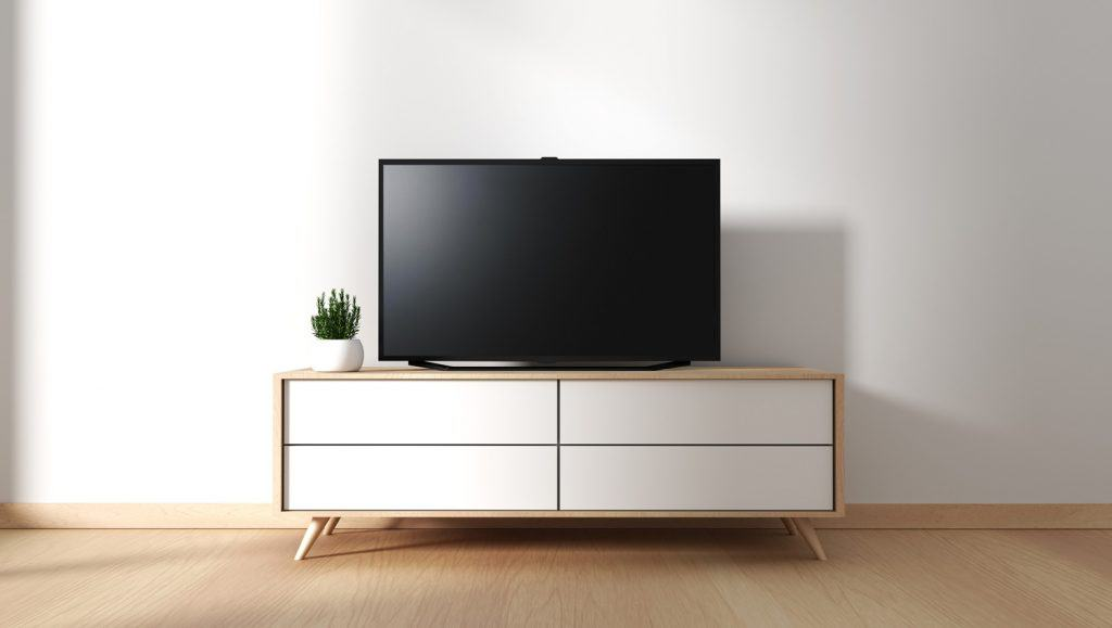 Tv cabinet in modern empty room Japanese - zen style,minimal designs.