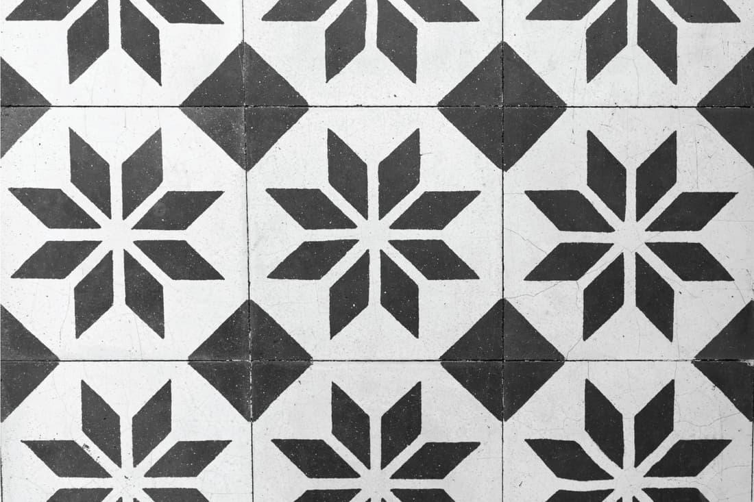 Vintage Floral Pattern floor tiles in Black and White