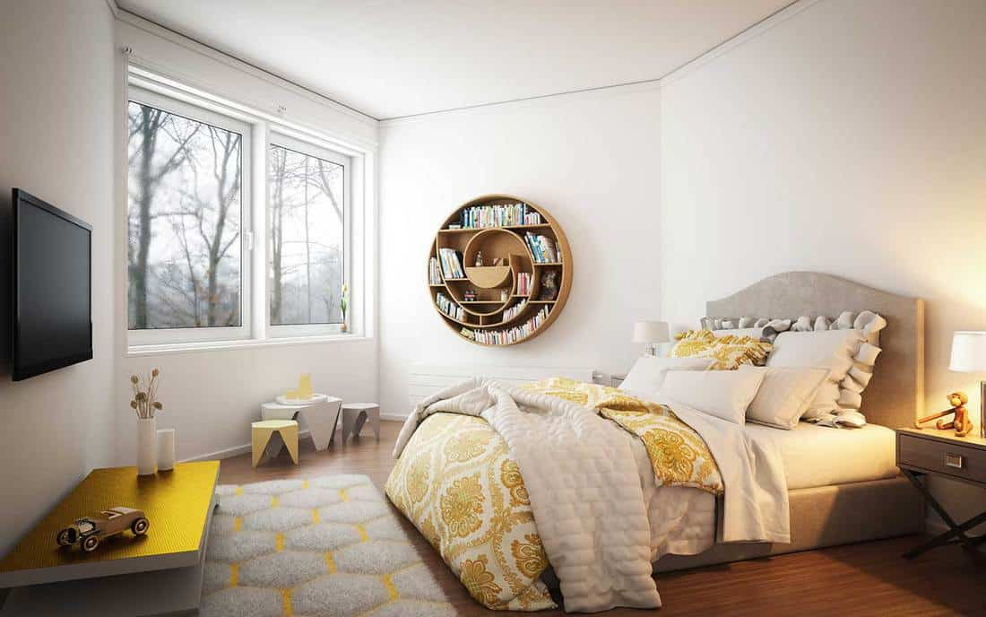 Warm and cozy bedroom interior design with nature view glass window