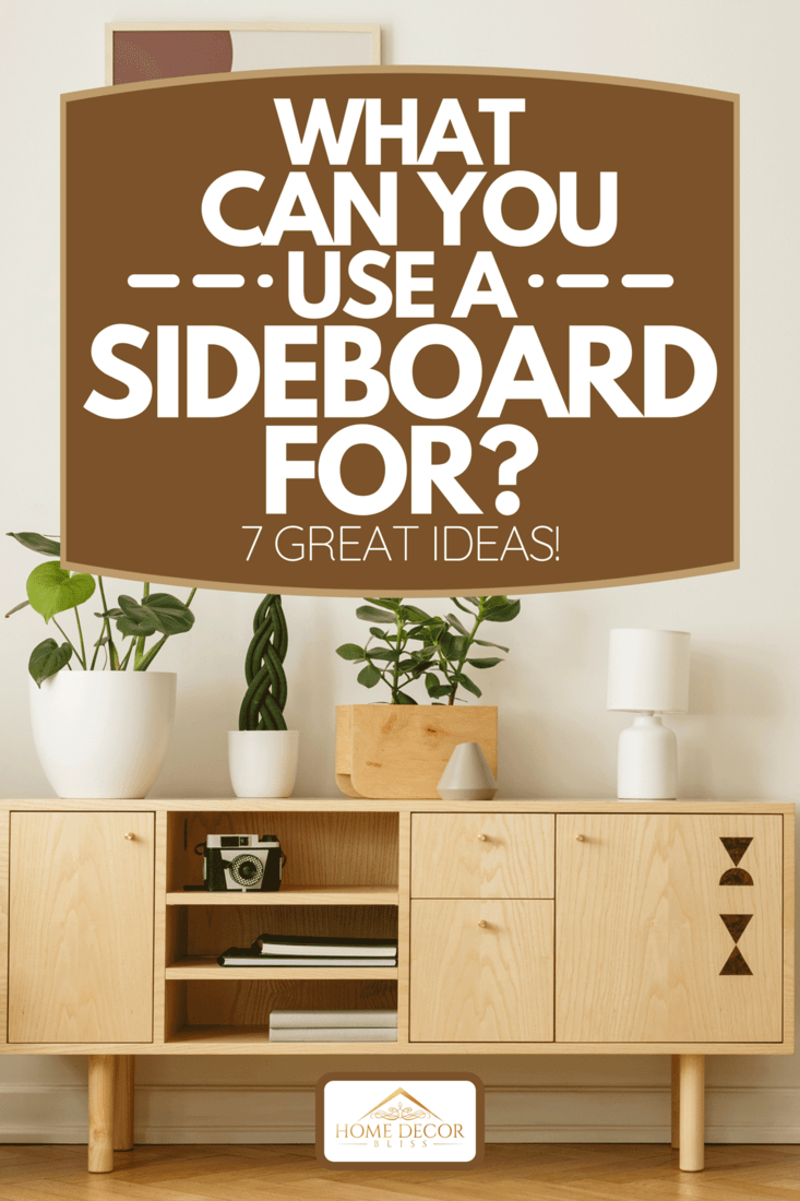 Retro style, wooden sideboard with green plants and a poster on a white wall in a simple apartment interior with herringbone hardwood floor, What Can You Use A Sideboard For? [7 Great Ideas!]