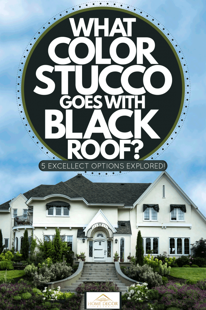 A huge two storey house with white painted exterior wall, black asphalt shingle roofing, and a gorgeous outdoor landscaping, What Color Stucco Goes With Black Roof? [5 Excellent Options Explored!]