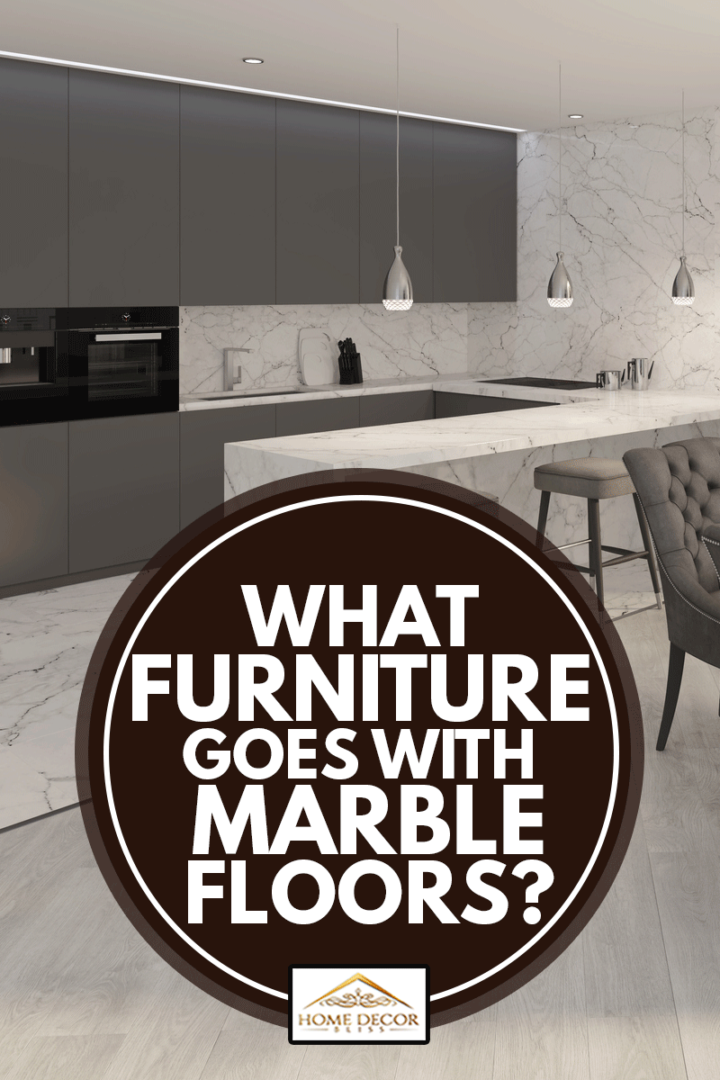 The modern dining room interior with marble tiles and furniture, What Furniture Goes With Marble Floors?