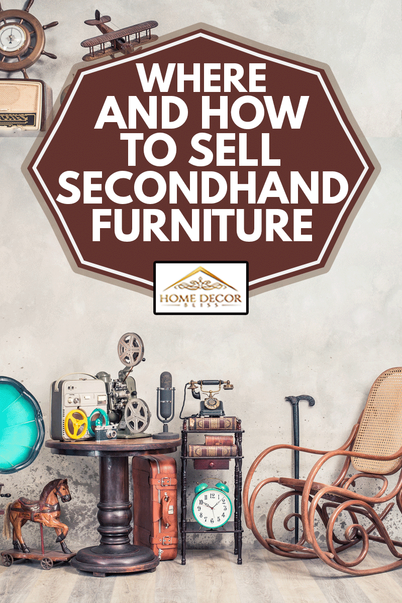 Teddy Bear toy on chair, typewriter, vintage gramophone, old books, radio, globe, binoculars, carnival mask, camera, fiddle on shelf, steering wheel, plane, travel backpack, bow and other furniture used items, Where And How To Sell Secondhand Furniture