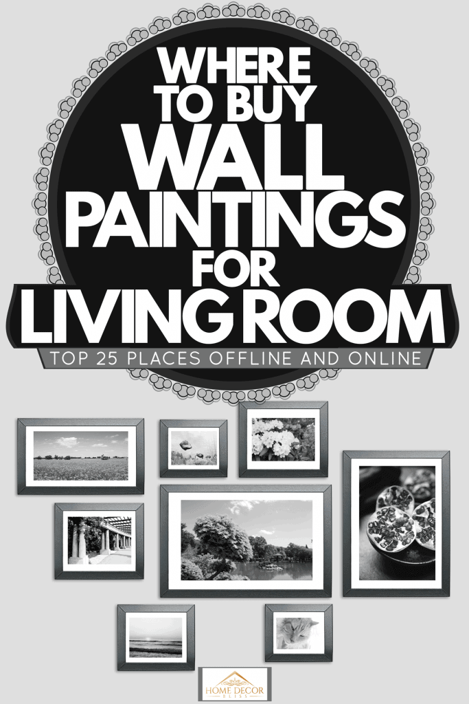 Different sized picture frames hanged on the wall, Where To Buy Wall Paintings For Living Room [Top 25 Places Offline And Online]