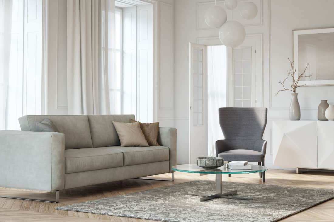 White Room, Gray Furniture. living room with gray and beige colored furniture and wooden elements