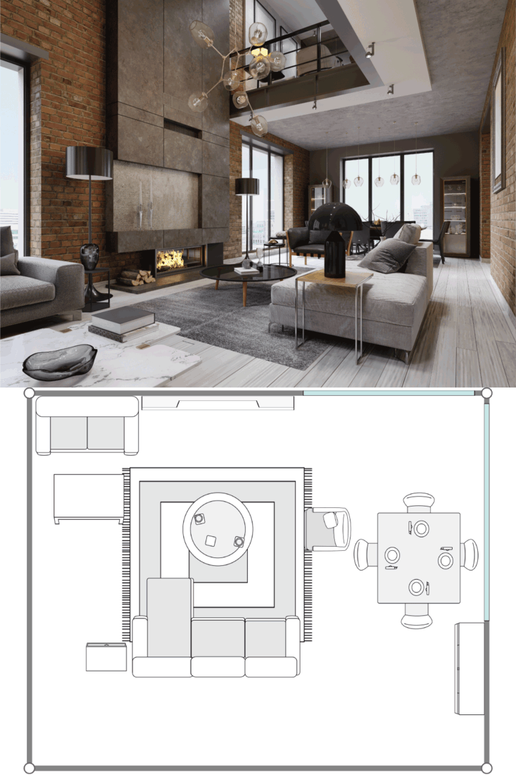 White and gray sofa and leather armchair with a magazine table and a large designer fireplace in a loft-style apartment with a living room and brick walls. 20X20 Living Room Layout Ideas
