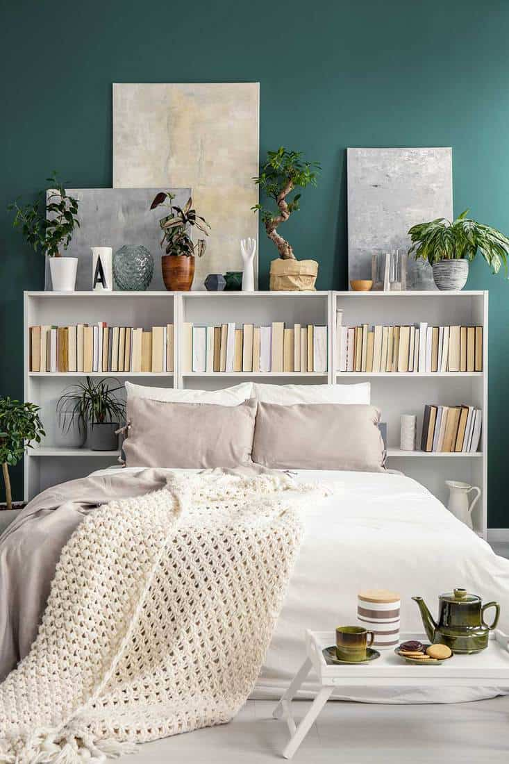 White bookshelf behind the double bed with blanket and pillows, plants and paintings in a green bedroom interior
